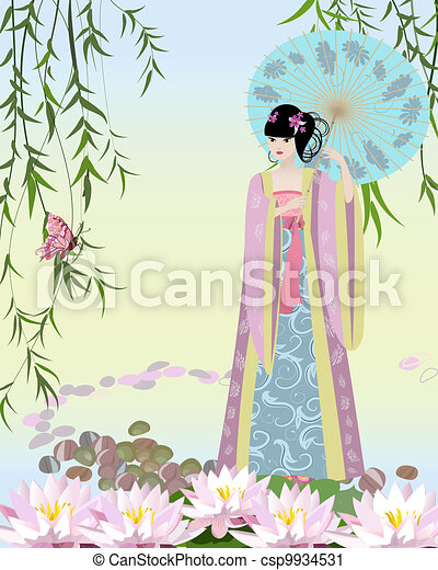 Chinese girl dressed at the lake - csp9934531