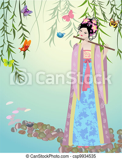 Chinese girl dressed at the lake - csp9934535