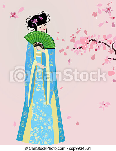 cherry blossom and a girl in national costume - csp9934561