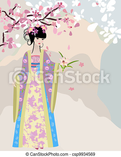 cherry blossom and a girl in national costume - csp9934569