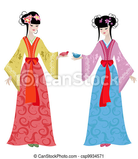 Beautiful girls in costumes - csp9934571