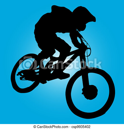 Vector Illustration Of Mountain Biker Turning Silhouette