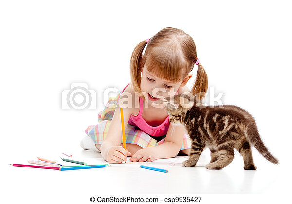 small cat watching at drawing child girl - csp9935427