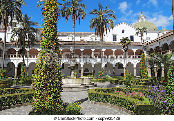 Courtyard at the church of San Francisco in Quito, Ecuador - csp9935429