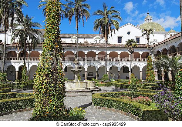 Courtyard at the church of San Francisco in Quito, Ecuador - csp9935429