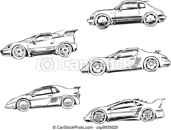 Vector - sport racing cars  Race Car Clipart Black And White