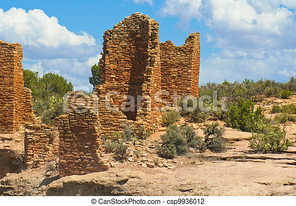 Pueblo Indian sandstone dwellings,  - csp9936012
