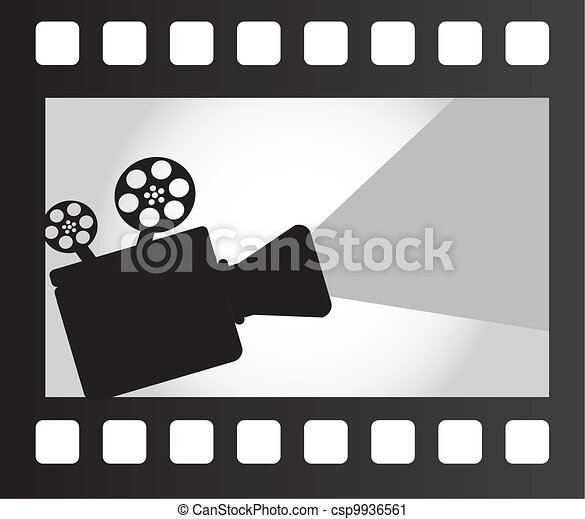 Vector clip art de pel cula proyector encima pel cula - Clipart cinema gratuit ...