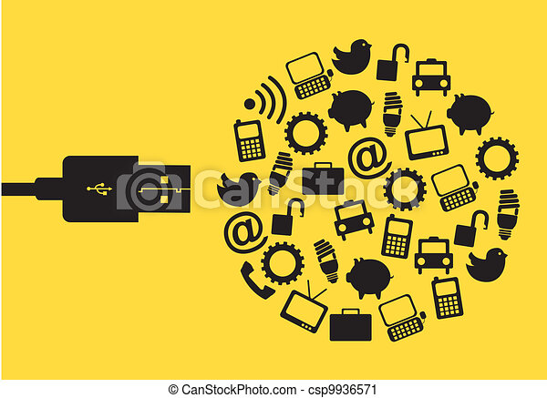 Vector Clip Art of usb vector - usb with icons over yellow ...