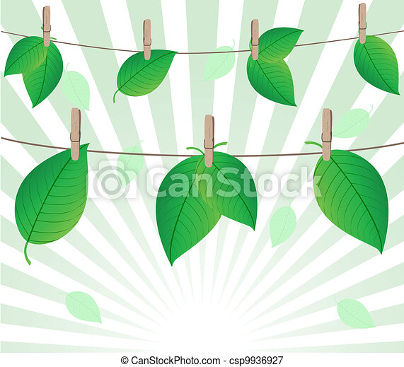 Vector illustration of the leaves on rope on sunny background - csp9936927