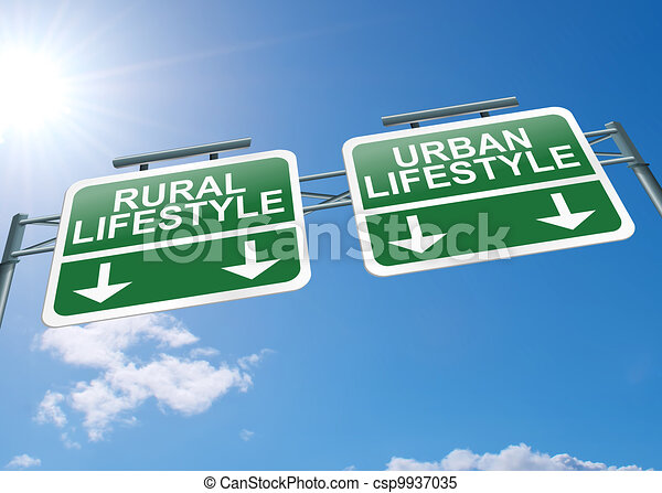 Rural or urban lifestyle. - csp9937035