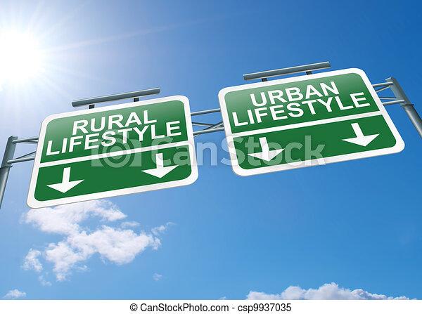 Rural or urban lifestyle. - csp9937035