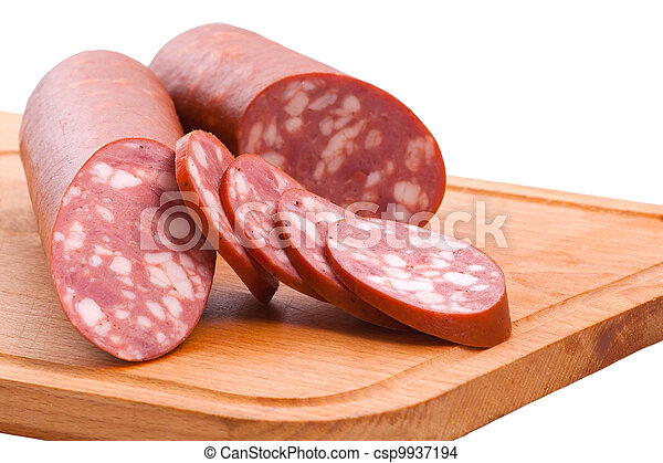 meat delicatessen on the board isolated on the white  - csp9937194