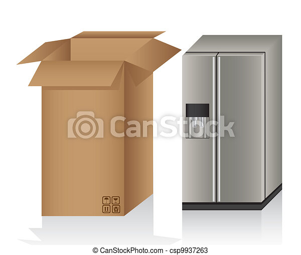 Illustration of a refrigerator ans a box - csp9937263