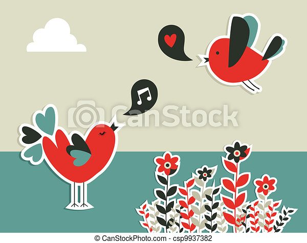 Fresh social media birds communication - csp9937382
