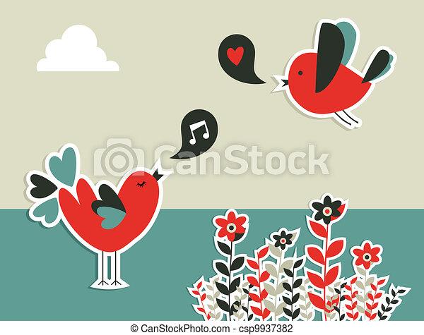 Fresh social media birds communication - csp9937382