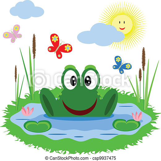 Funny frog is in the pond - csp9937475