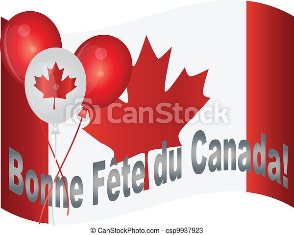 Happy Canada Day Flag and Balloons Illustration - csp9937923
