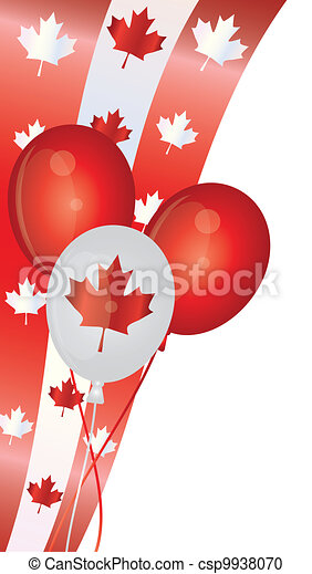 Happy Canada Day Balloons Illustration - csp9938070