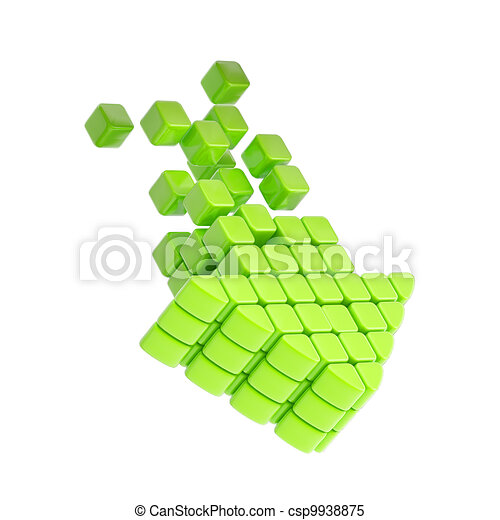 Technology cube arrow green plastic icon - csp9938875