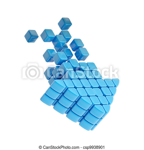 Technology cube arrow blue plastic icon - csp9938901