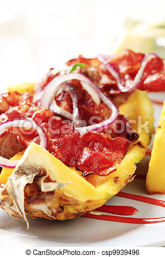 Shish kebab and crispy bacon - csp9939496