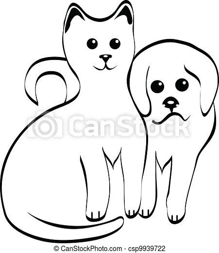 Kitty and doggy silhouettes vector - csp9939722