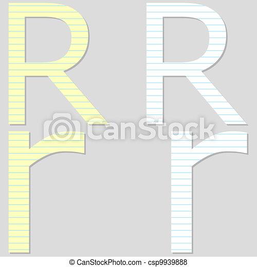 Paper Font Set Letter R - csp9939888