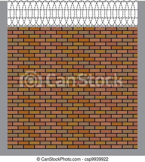 Vector Illustration of brick wall with barbed wire csp9939922 ...