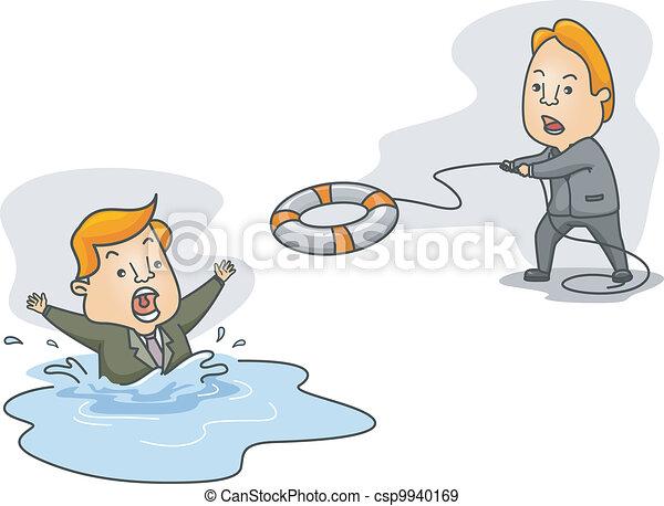 Man Helping a Drowning Man - csp9940169