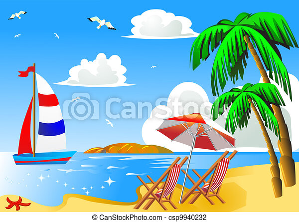 Vector sea beach with palm by sailboat chair and umbrella stock