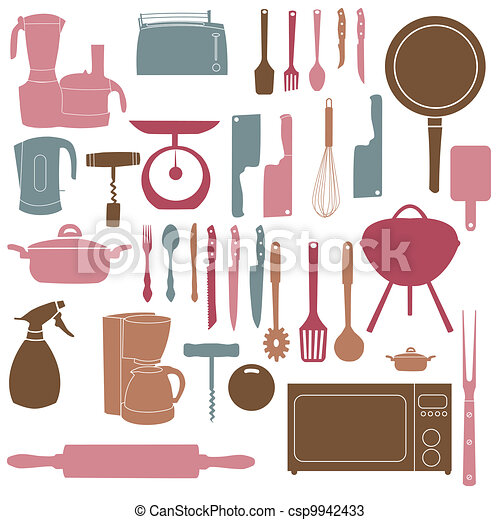 vector illustration of kitchen tools for cooking - csp9942433