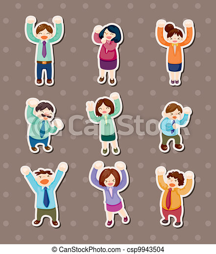happy office worker stickers - csp9943504