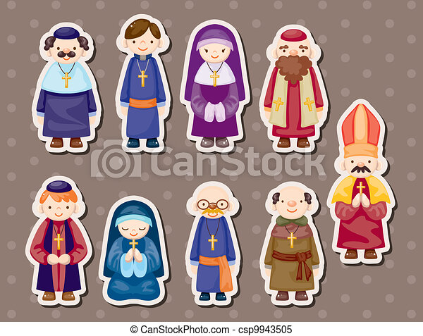 cartoon priest stickers - csp9943505