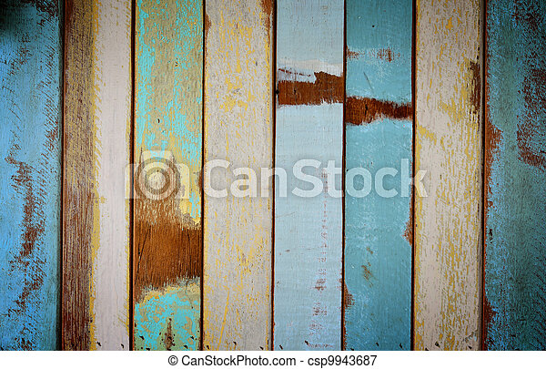 The old painted wooden wall  - csp9943687