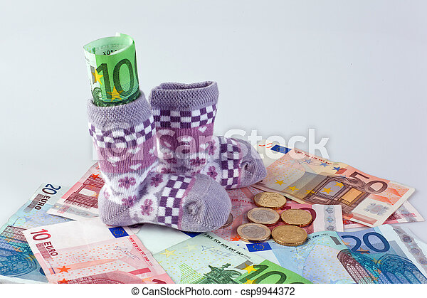 children's socks and euro bills - csp9944372