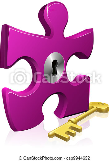 Lock and key jigsaw piece - csp9944632