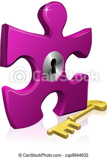 Lock and key jigsaw piece - csp9944632