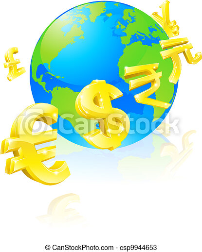 Currencies signs globe concept - csp9944653