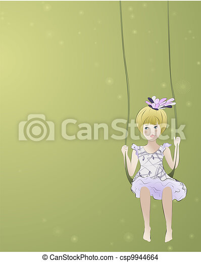 Adorable girl on the swing - csp9944664