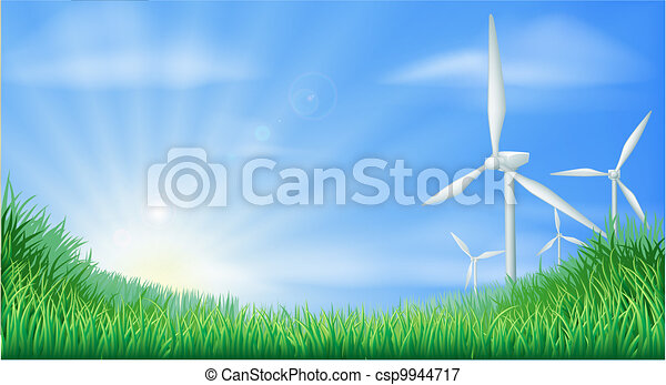 Wind turbines landscape illustratio - csp9944717