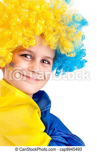 Football fan with  ukrainian flag on a white background - csp9945493