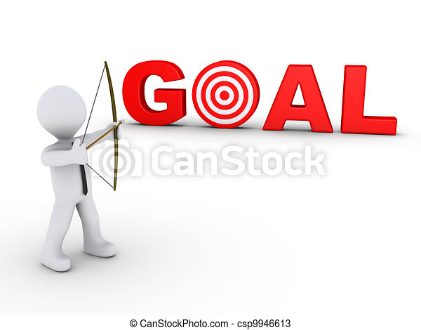 Businessman as archer aiming at a goal target - csp9946613
