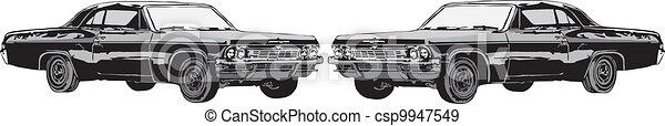 The sport car and retro car - csp9947549
