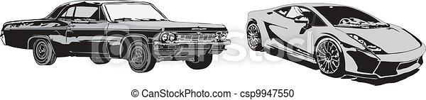 The sport car and retro car - csp9947550