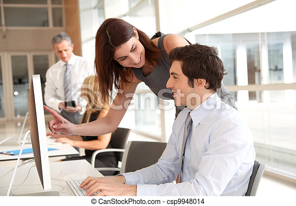 Co-workers in business training - csp9948014