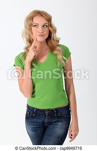 stock foto blond frau gr n m nnerhemd haben nachdenklich blick stock bilder bilder. Black Bedroom Furniture Sets. Home Design Ideas