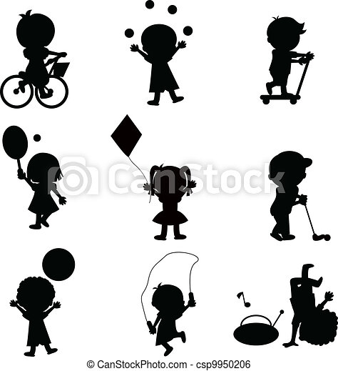 happy children silhouettes background - csp9950206