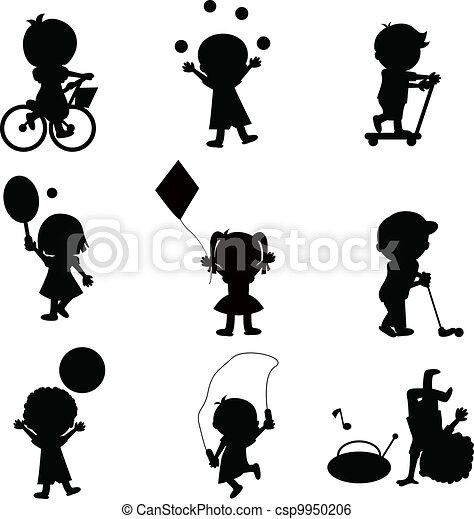 happy children silhouettes background - csp9950206