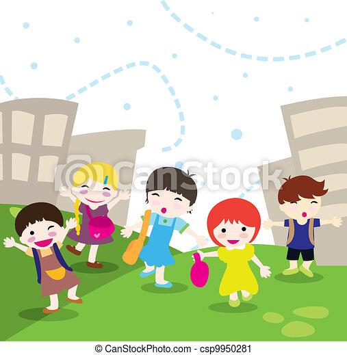 école, aller, enfants - csp9950281
